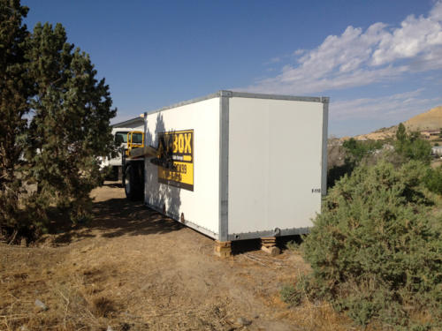 Delivery of MI-BOX in Colorado Springs, CO. Big slopes - no problems. We can put containers anywhere.