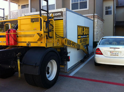 MI-BOX Mobile Storage & Moving in Dallas, TX showing off. How to deliver a container where the other guys can't.